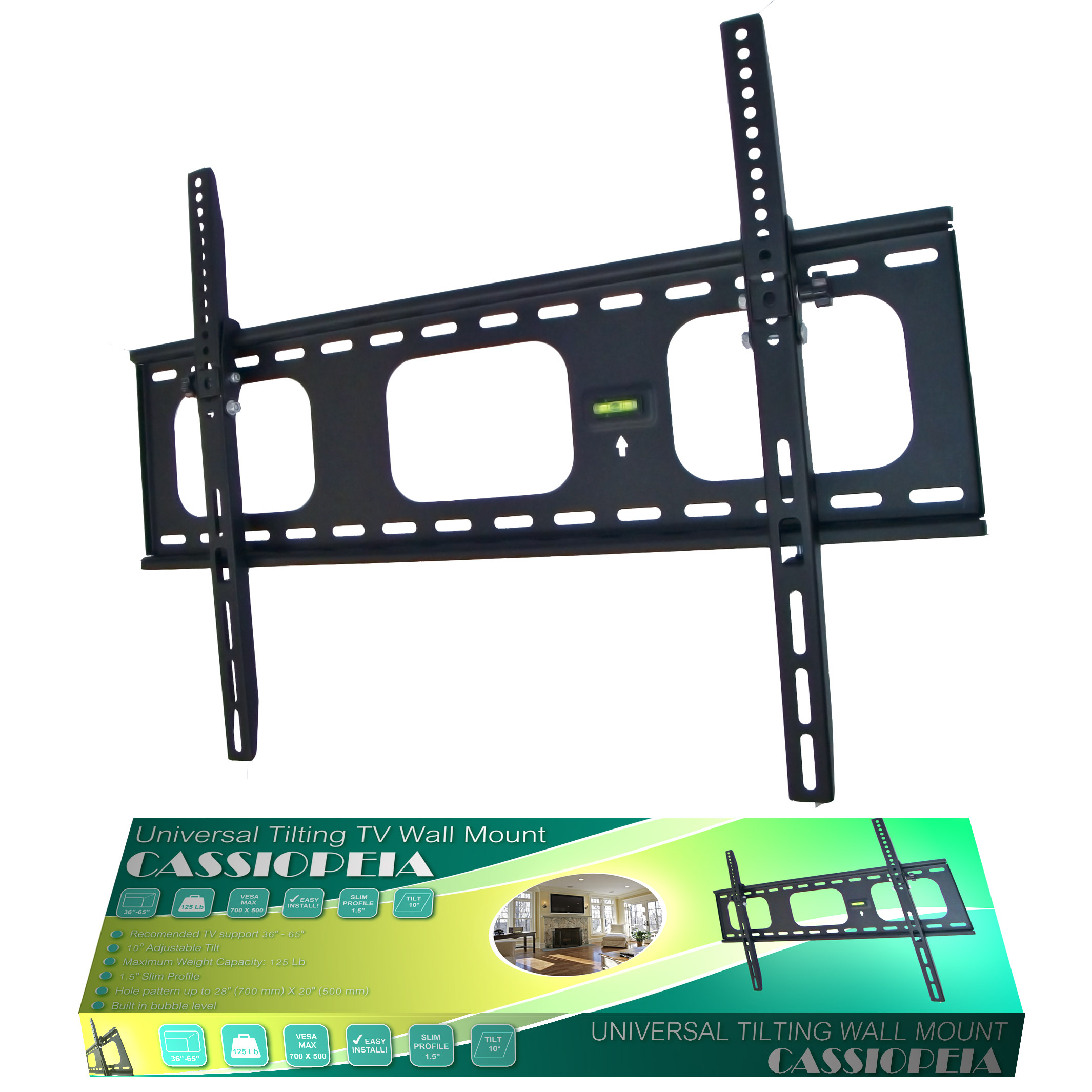 "Cassiopeia Black Tilting 36-65"" Flat Panel TV wall mount"